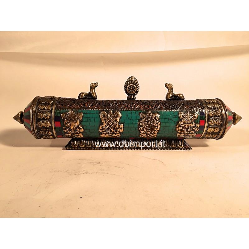 Porta incenso tibetano turchese
