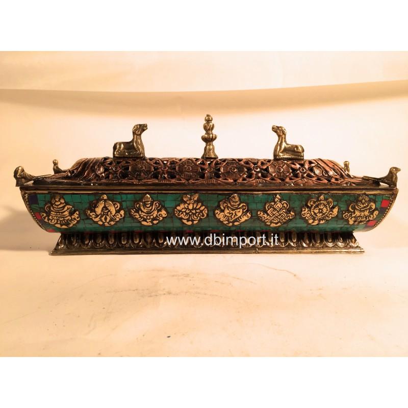 Porta incenso tibetano turchese mod 2